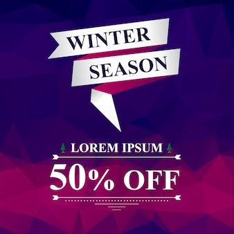 Saison d'hiver 50% vente bannière carrée, style moderne avec ruban et abstrait violet et rose, modèle d'outil de marketing numérique pour les médias sociaux