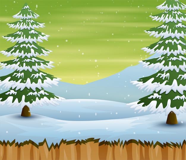 Saison d'hiver avec des arbres et des champs couverts de neige