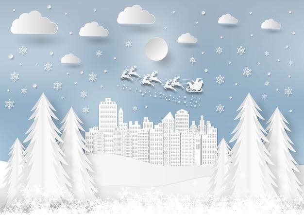 Saison d'hiver avec flocon de neige et père noël en ville