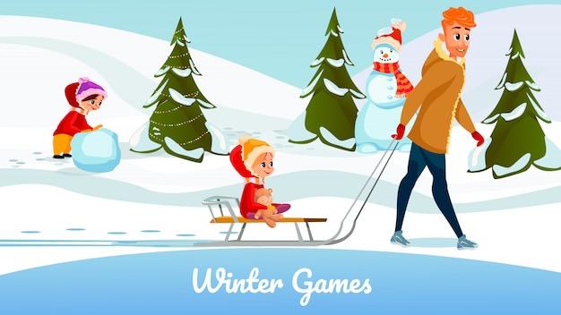 Saison d'hiver jeux cartoon père fille jouer