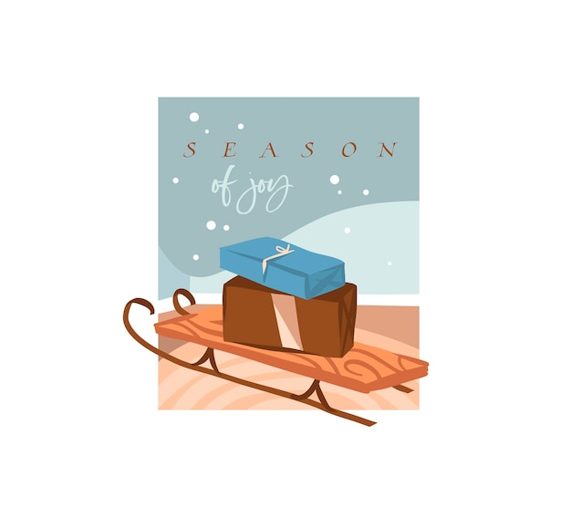 Saison de joie, texte de lettrage. jolies illustrations de traîneau de noël et présente des cadeaux boîte à l'intérieur isolé