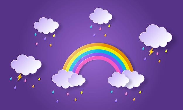 Saison de la mousson. arc en ciel sous la pluie. art du papier.