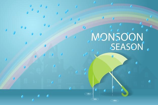 La saison de la mousson avec des pluies.