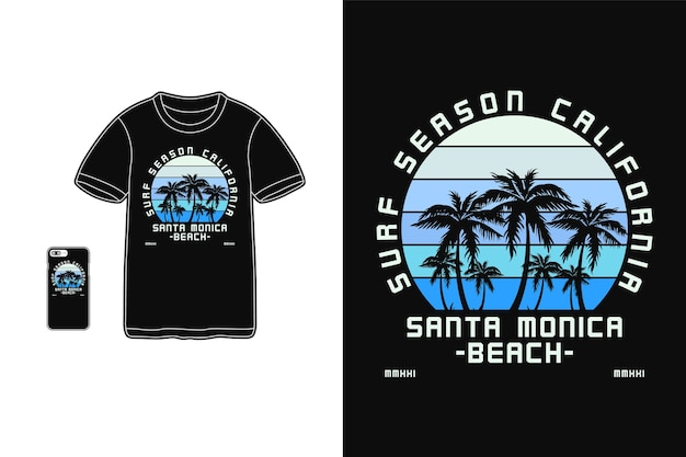 Saison de surf en californie, maquette de silhouette de marchandise de t-shirt
