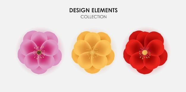 Sakura 3d réaliste d'or, rouge et rose, ensemble de collection d'icônes de fleur de prunier.