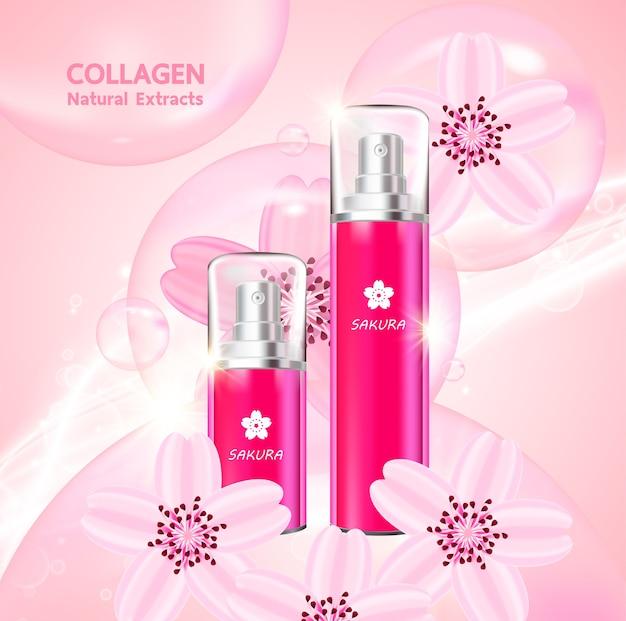 Sakura collagène et sérum pour produit de beauté.