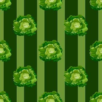 Salade de butterhead modèle sans couture sur fond rayé vert foncé. ornement simple avec de la laitue.
