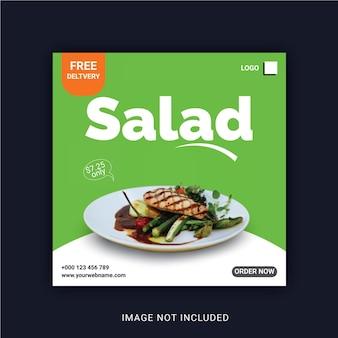 Salade de légumes frais et sains modèle de publication instagram sur les médias sociaux