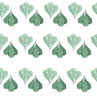 Salade de mangold de bouquet de modèle sans couture sur le fond blanc. ornement abstrait avec laitue turquoise