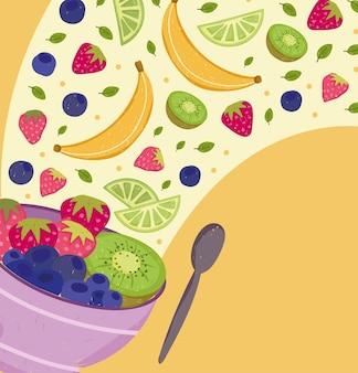 Salade mixte de fruits dans un bol