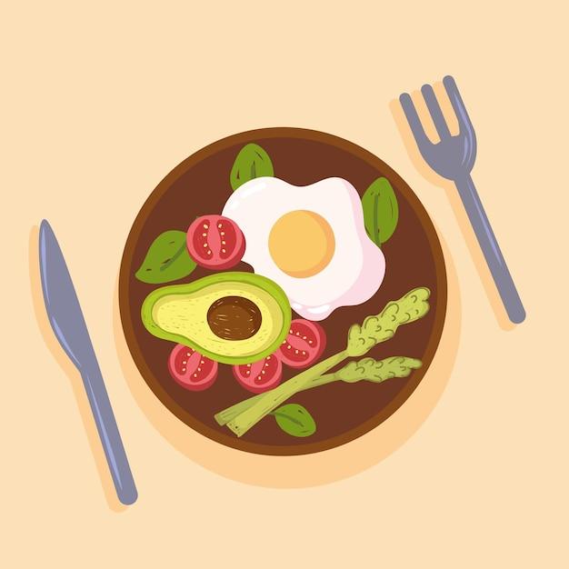 Salade et oeuf sains