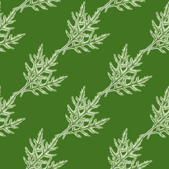 Salade de roquette de bouquet de modèle sans couture sur fond vert. ornement simple avec de la laitue.