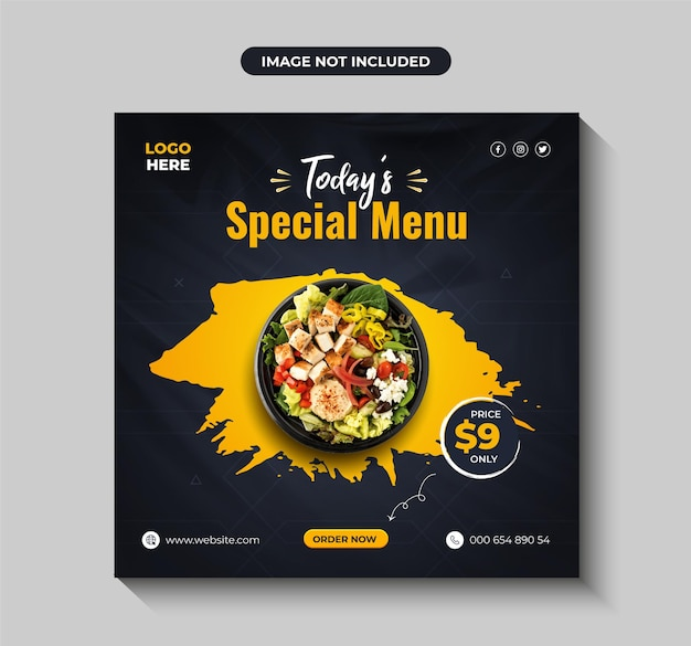 Salade saine et fraîche menu alimentaire médias sociaux instagram poster bannière vecteur premium