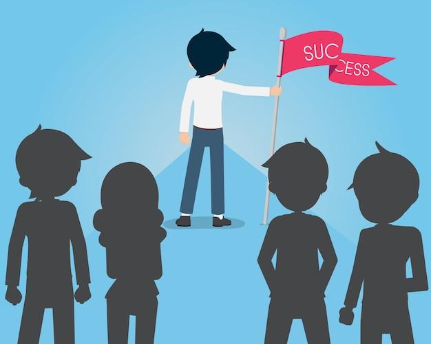 Salary man est un bon leader avec le drapeau du succès devant ses partisans