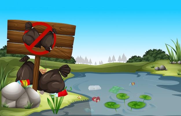 Sale poubelle au bord de l'étang