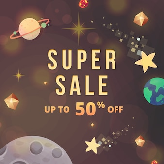 Sales banner space theme gratuit