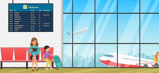 Salle d'attente de l'aéroport. salle d'embarquement avec chaises, panneaux d'information et personnes. terminal avec vue sur les avions.