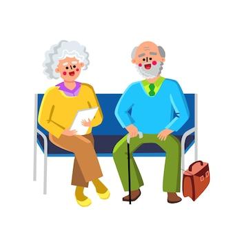 Salle d'attente s'asseoir sur des chaises vecteur de personnes âgées. heureux couple senior homme et femme assis sur un banc dans la salle d'attente de l'hôpital. vieux personnages grand-père et grand-mère flat cartoon illustration