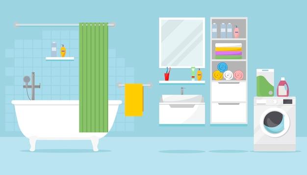 Salle de bain avec baignoire, casiers, lave-linge et divers accessoires. illustration intérieure de salle de bain dans un style plat