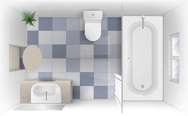 Salle de bain avec baignoire lavabo et vue de dessus de la cuvette des toilettes