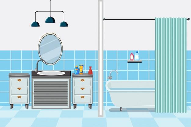 Salle de bain avec baignoire et lavabo