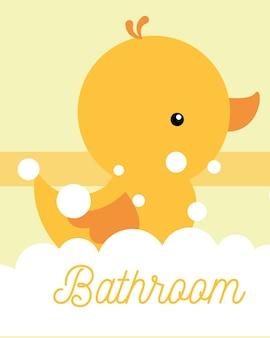 Salle de bain en mousse jaune