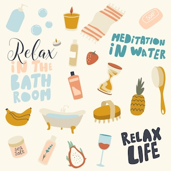 Salle de bain relax éléments et lettrage