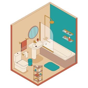 Salle de bain de style isométrique. baignoire, lavabo et toilettes