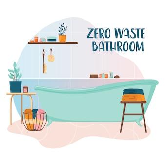 Salle de bain zéro déchet. bain avec produit écologique et outil pour les personnes soucieuses de l'écologie. fournitures écologiques pour l'hygiène.