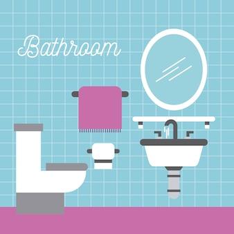 Salle de bains lavabo papier toilette serviette et miroir