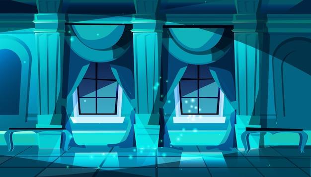La salle de bal du château sombre avec des fenêtres. hall de danse, de présentation ou de réception royale.