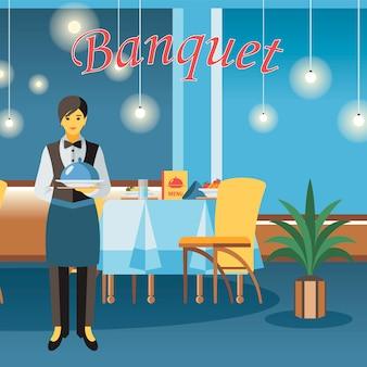 Salle de banquet, illustration vectorielle plane chambre