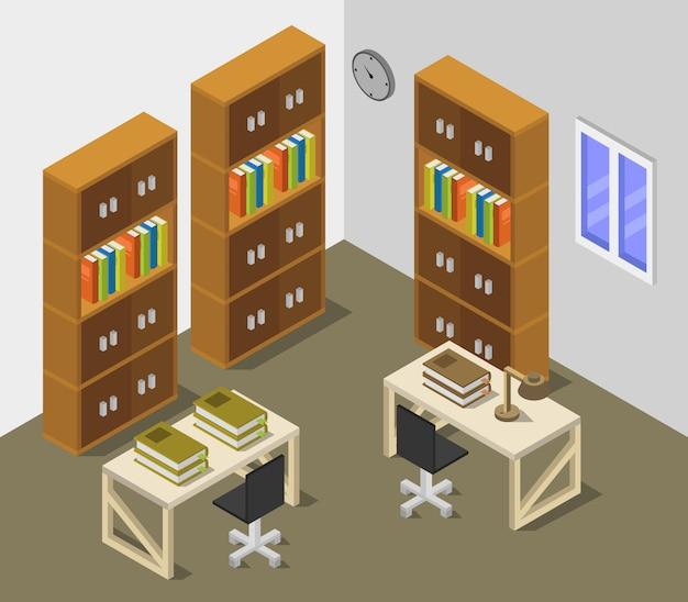 Salle de bibliothèque isométrique