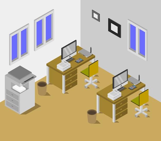 Salle de bureau isométrique