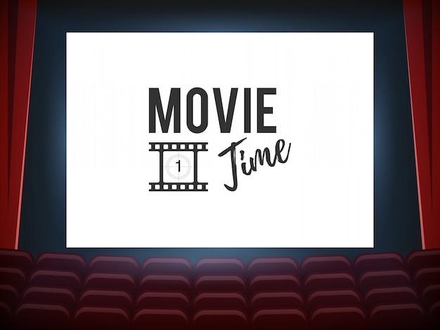 Salle de cinéma avec écran blanc