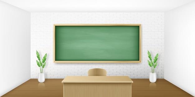 Salle de classe avec tableau vert sur blanc