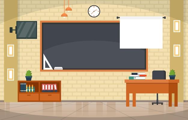 Salle de classe vide de l'éducation de l'intérieur de la classe de l'école secondaire personne illustration