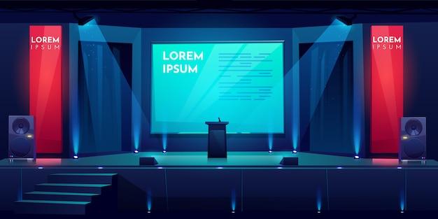 Salle de conférence, scène pour la présentation, scène