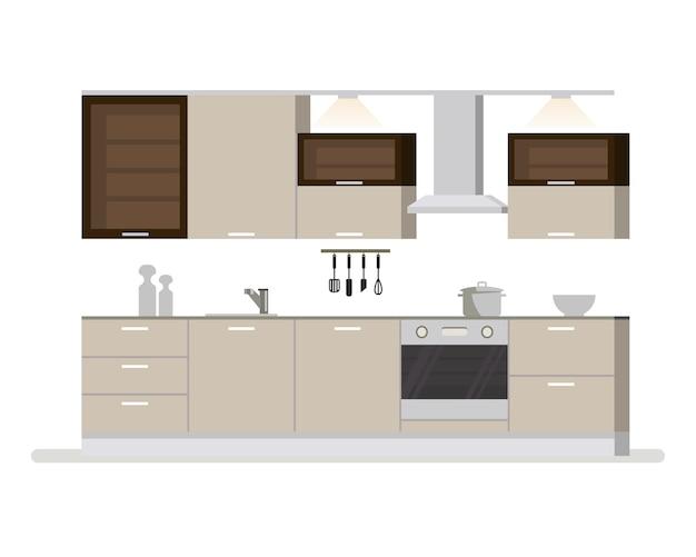 Salle de cuisine intérieure moderne dans des tons clairs. ustensiles et appareils de cuisine. tasses et couteaux à cocotte. illustration de dessin animé plat isolé.