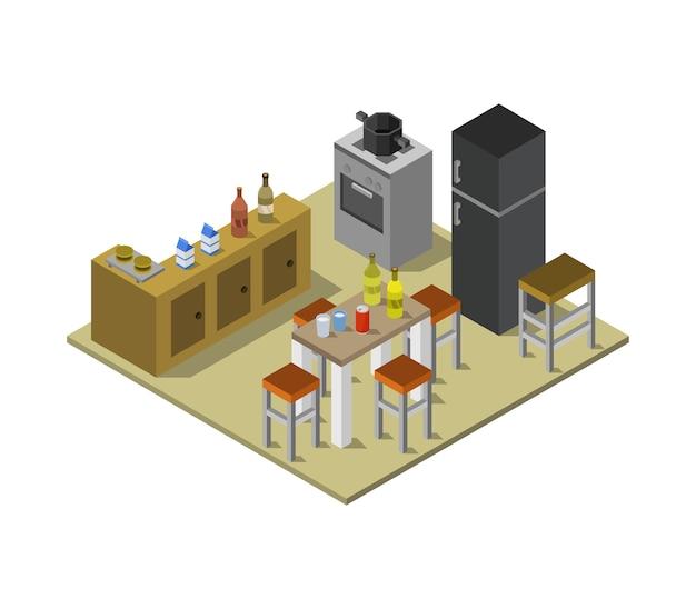 Salle de cuisine isométrique