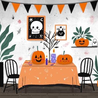 Salle dessinée à la main décorée d'éléments d'halloween