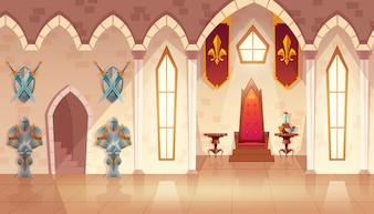 Salle du château avec fenêtres. Intérieur de la salle de bal royale avec trône, table et gardes en chevalier