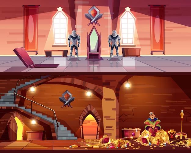Salle du trône avec trappe à la voûte. cave avec roi sur tas d'or, coffres.