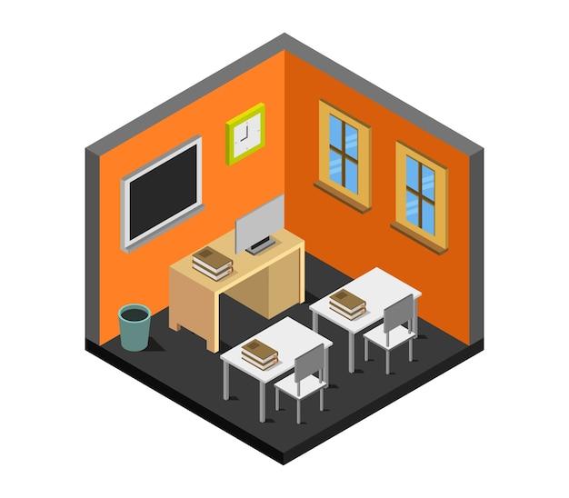Salle d'école isométrique