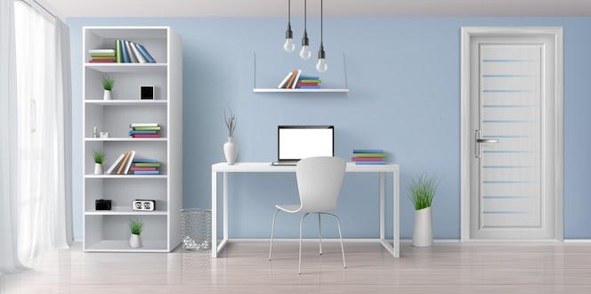Salle ensoleillée de bureau à la maison avec intérieur 3d réaliste de meubles simples et blancs 3d. ordinateur portable avec écran blanc sur le bureau, étagère sur le mur bleu, support avec illustration d'horloge et de pots de fleurs