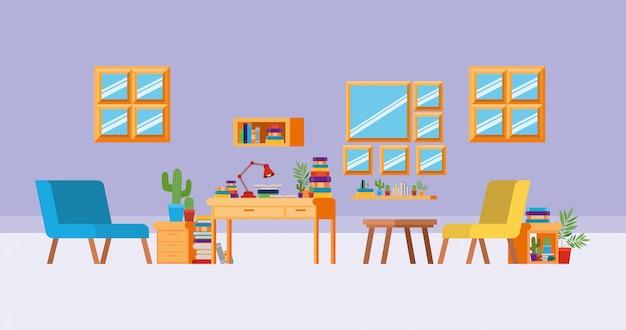 Salle d'étude à domicile avec des livres