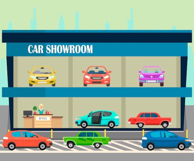 Salle d'exposition automobile, illustration couleur plate vitrine