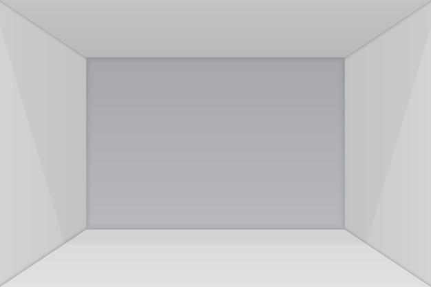 Salle d'exposition vide avec coin carré.