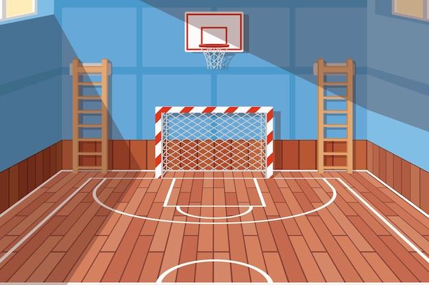 Salle de gym scolaire ou universitaire. terrain de gym pour le football et le basket-ball, salle d'école, jeu au sol. illustration vectorielle