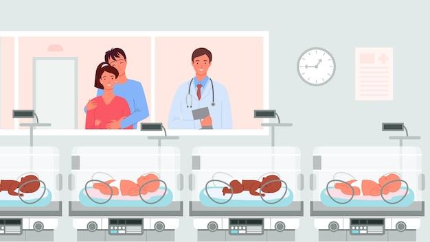 Salle d'hôpital avec incubateurs pour bébés prématurés concept de prématurité illustration vectorielle médecin de dessin animé
